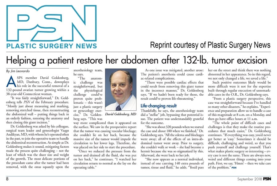 Dr. Goldenberg Plastic Surgery Article