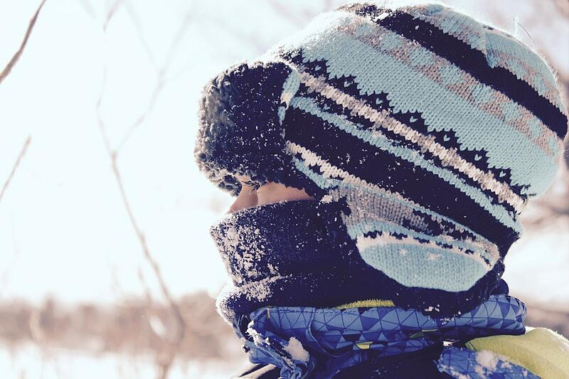 Child Wearing Winter Hat Outside