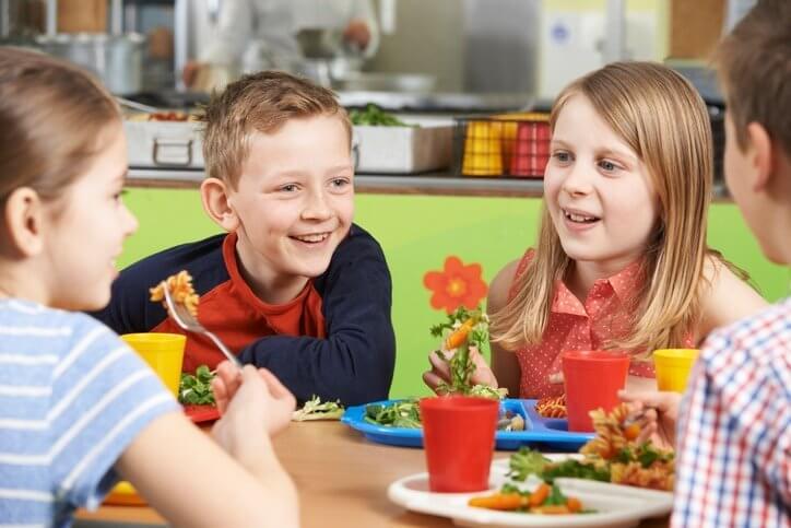 Children Sitting Eating Together