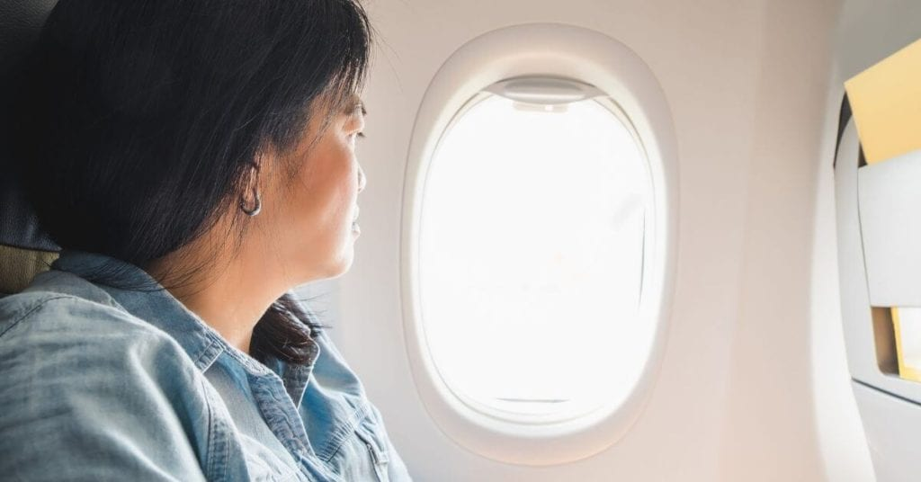 Lady Looking Out of Plane Window