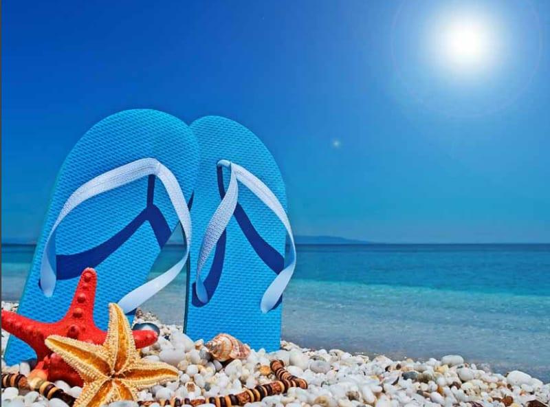 Sun Safety, Flip Flops on The Beach
